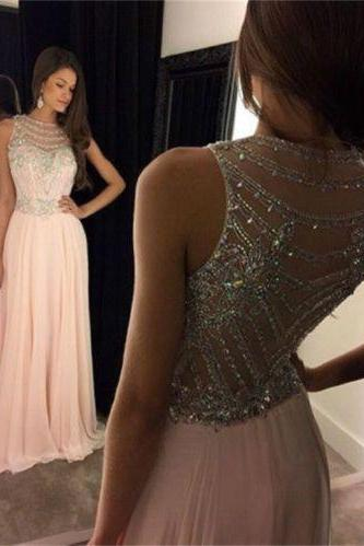 Charming Pink Chiffon Prom Dresses 2016 A Line Crystal Beading Floor Length Party Homecoming Evening Gowns