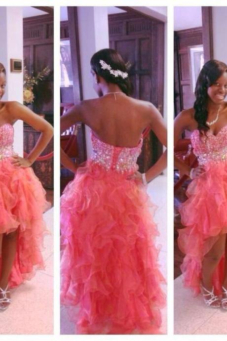 Beaded High Low Prom Dresses 2016 Watermelon Red Backless Organza Party Homecoming Dress Vestidos De Fiesta Custom Made