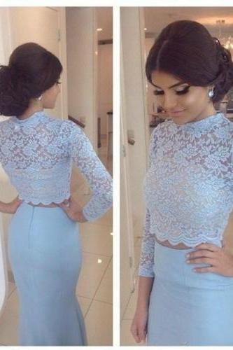 Elegant Mermaid 2 Piece Prom Dress 2016 New High Neck Beads Long Sleeve Women Formal Party Evening Gown