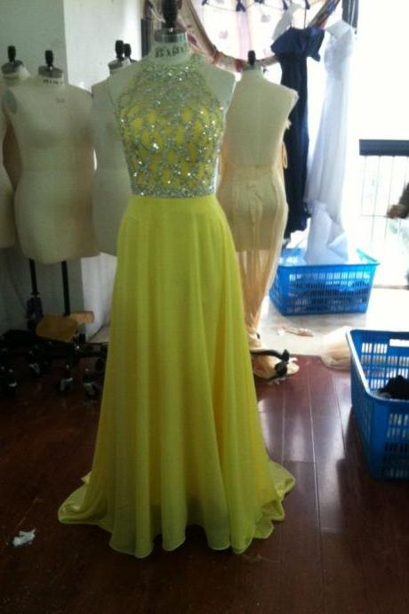 Beautiful Real Photos A Line Prom Dress 2016 New Beads Crystal Long Daffodil Yellow Chiffon Evening Dress Vestidos De Festa