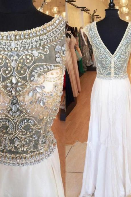 Sparkly A Line Prom Dresses 2016 New Beads Crystal Backless Long Chiffon Pageant Evening Dresses