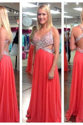 Beautiful V Neck A Line Prom Dresses 2016 New Beads Crystal Long Chiffon Backless Party Evening Dresses