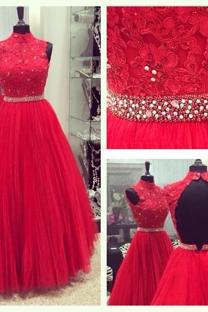 High New Red Tulle Prom Dress 2016 Red Appliques Beads A Line Off the Shoulder vestidos de fiesta Formal Evening Gown Dresses