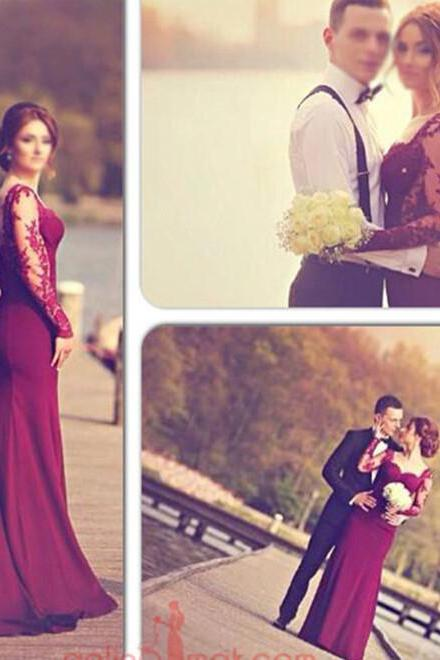 Elegant Sweetheart Mermaid Burgundy Prom Dresses 2016 New Appliques Long Sleeve Button Floor Length Party Eveing Gowns