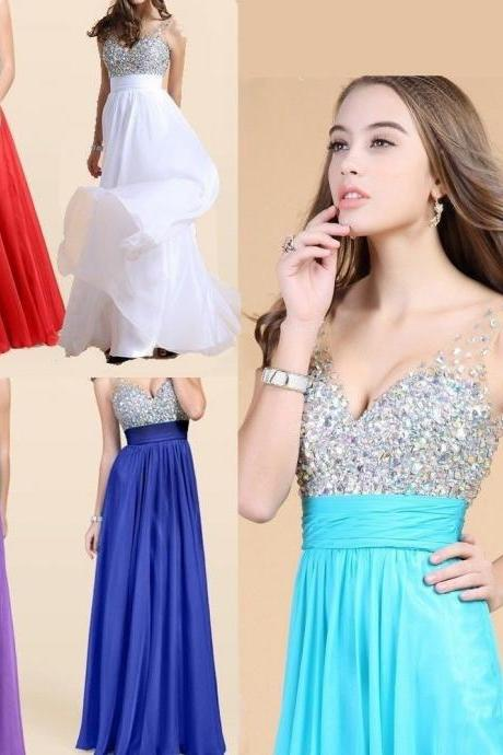 Gorgeous 2016 V Neck Prom Dresses With Beading A-Line Backless Floor Length Formal Evening Party Gowns