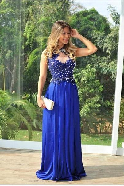 2016 Fashion Long Evening Dresses See Through Back Design Pageant Gowns For Ladies Handmade Royal Blue Prom Dress