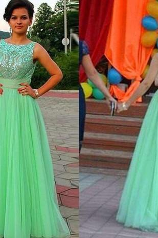 Hot Selling 2016 Beteau Green Tulle Long Prom Dresses A Line Appliques Beading Bow Backless Formal Gown Party Cocktail Gown