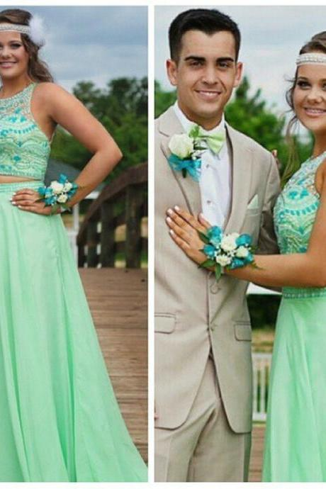Two Pieces Prom Dresses Gowns 2016 Long Halter Open Back Sleeveless vestidos largos de fiesta Long Dress Prom 2015