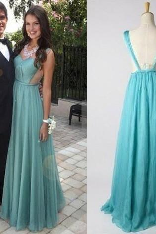 Long Vestido Light Blue V Neck 2016 Chiffon Engage Evening Formal Dress Women Sexy Backless Prom party Dress