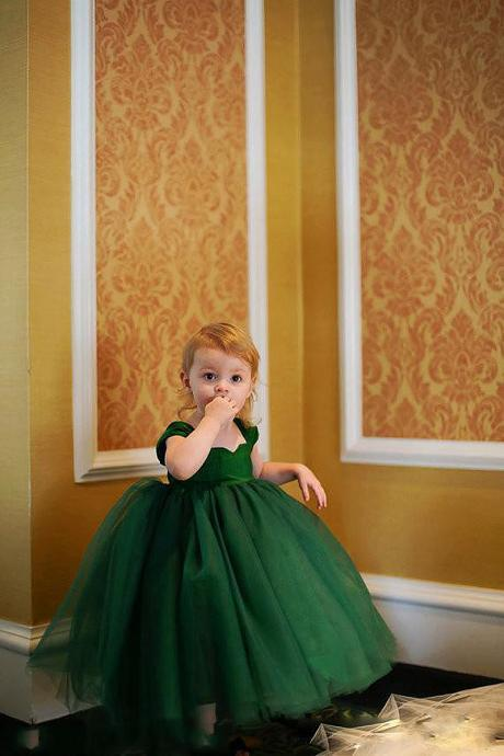 Chirstmas Toddler Dresses 2015 Ball Gown Green Tulle Long Flower Girls Dresses for Kids