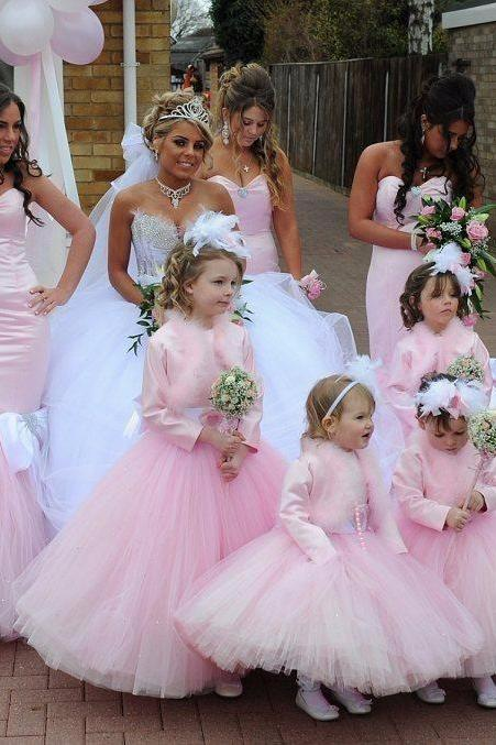 New Hot Selling Custom Made Flower Girl Dresses Girls Pageant for Baby Sashes Ball Gown Without Coat Tank Tulle