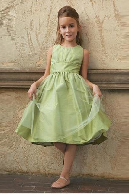 Cheap Taffeta A line Flower girl Dresses for Wedding Party Hot sale Knee length Lovely Little girls dress for kids