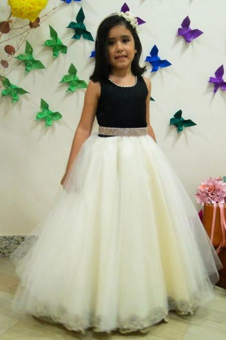 Pretty White Tulle Ball Gown Flower Girl Dresses 2016 Hot Sale Vestido de Daminha Long girls pageant dress first communion dress