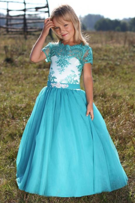 vestidos communite for girls New Lovely flower girl dresses for weddings Floor Length Tulle With Short Sleeve