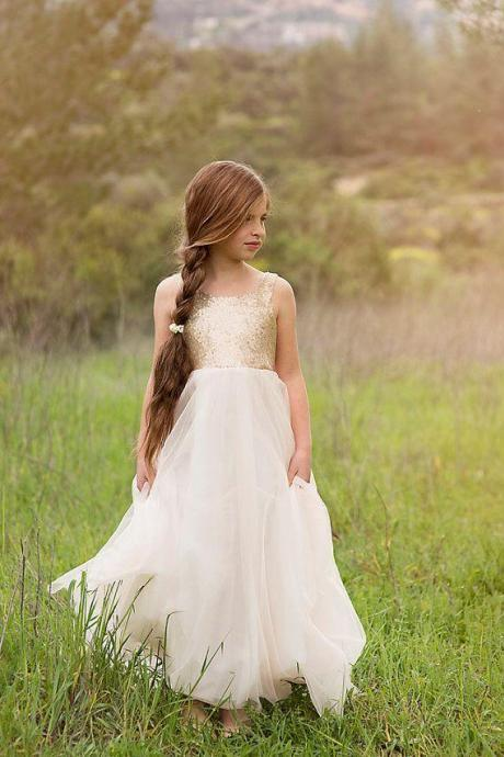 Newest Flower Girls Dresses For Weddings Princess Style Gold Sequins On Top Tulle A-Line 2016 White Dresses