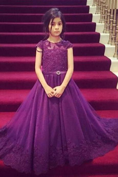 lace flower girl dresses 2016 Cap Sleeve purple Flower Girl Dresses for weddings Holy Communion Dresses girls ball gowns