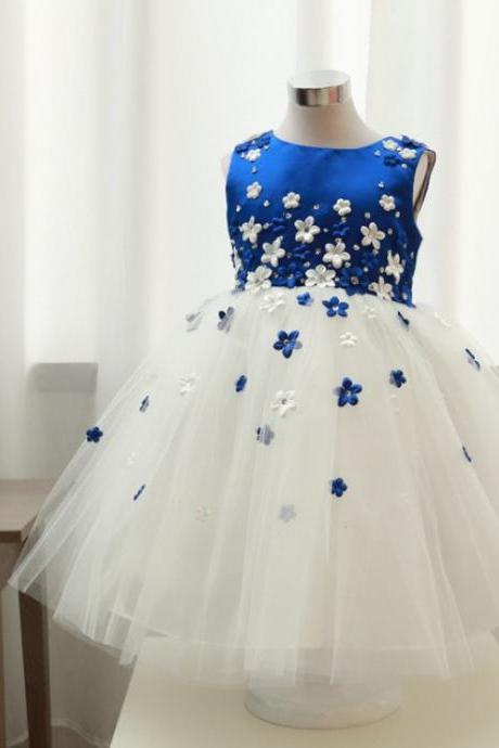 2016 New Royal Blue Princess Girls Pageant Dresses O Neck Handmade Flowers Flower Girls Dresses Lovely Christmas Cupcake Dress
