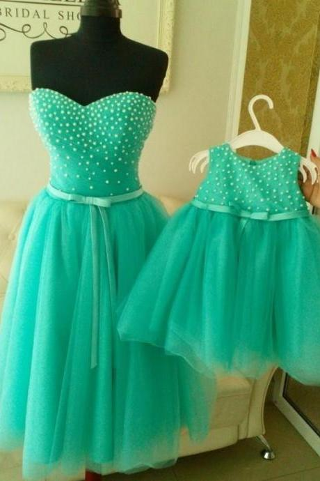Kids Pageant Dress Ball Gowns with Pearls Mint Green Flower Girl Dresses 2016 Mother and Daughter First Holy Communion Dresses