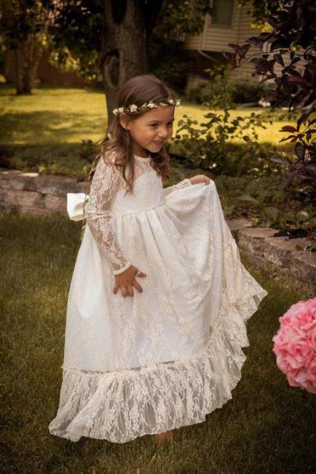 Ivory/White Long Dleeves Floor Length Lace Elegant Flower Girl Dress Children Birthday Dress With Ribbon For Weddings