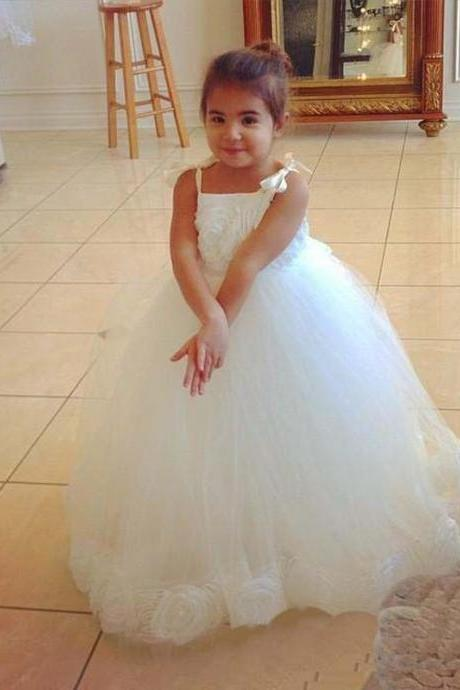 Spaghetti Straps Floor Length Tulle Appliques Ball Gown Pageant Dresses For Little Girls Vestido De Daminha Kids Evening Gowns