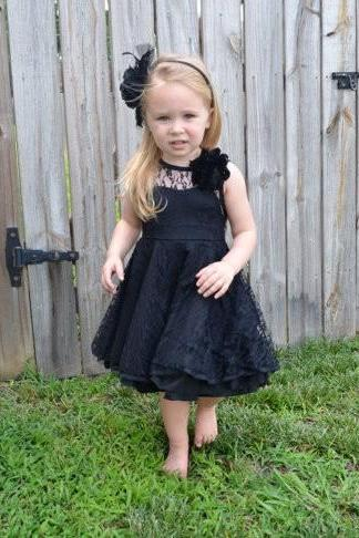toddler black flower girls dress v-back lace black kids flower girl dresses