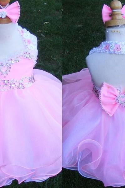 Girls Pageant Dress Short/Min Bowknot Crystal Beading Sequins Organza Halter Little Girls Pageant Dress Flower Girls Dreses Pink