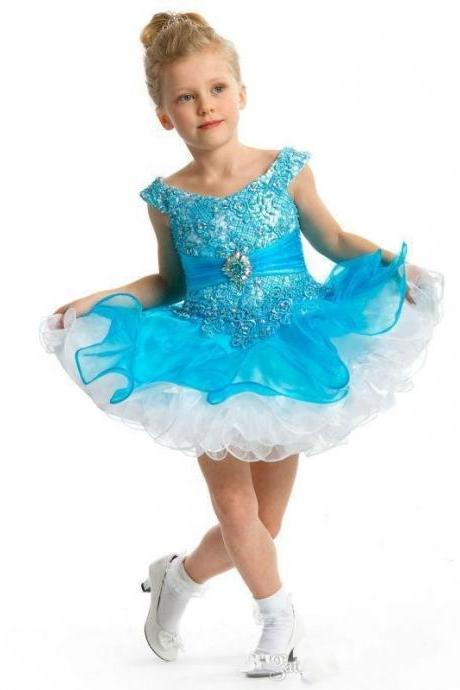 Little Princess Royal Blue Short Flower Girl Dresses Lovely Cap Sleeve Beaded Bodice Ball Gown Toddler Glitz Pageant Dresses