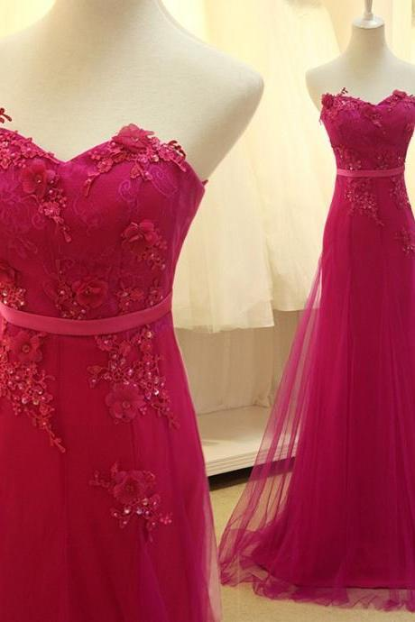 Long Prom Dress With Lace Applique Custom Made Rose Red Tulle Delicate Formal Dresses fast shipping Evening Gowns