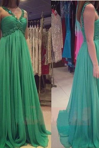 Green Chiffon Long Prom Dresses With Pleat Hand Beading Spaghetti Strap Backless vestidos For Party Prom Dress 2016
