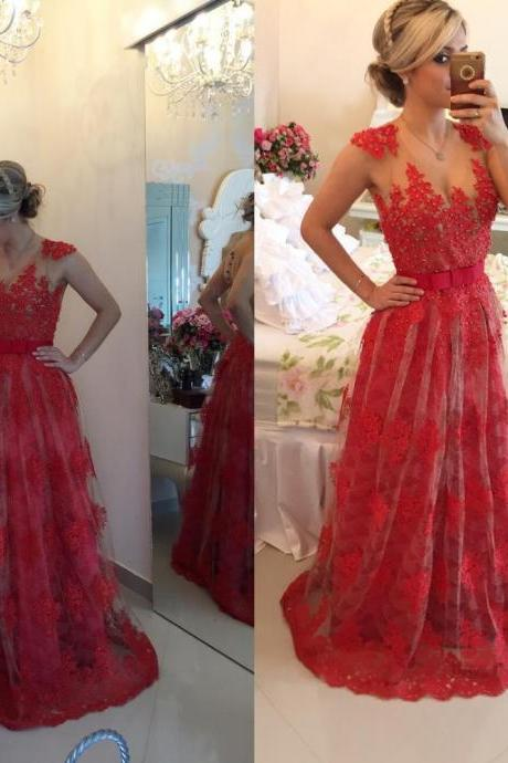 Red Lace Prom Dresses 2016 A-Line V-Neck Sleeveless Sheers On Back Long Prom Party Dress Formal Gown Vestidos De Festa Longo