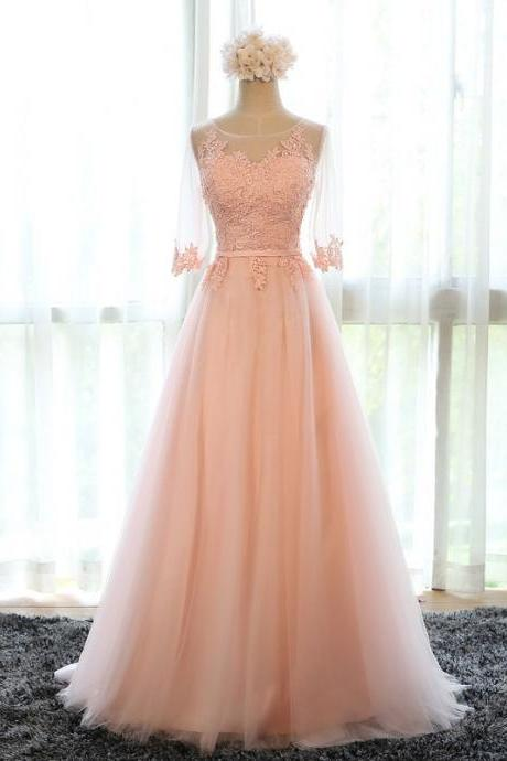 hot sell long prom dress lace tulle formal dress with sleeve party dresses fast shipping