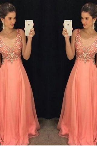 Robe De Soiree 2016 A-Line V Neck Peach Color Chiffon Floor Length Plus Size Long Prom Dress Evening Dresses With Beads