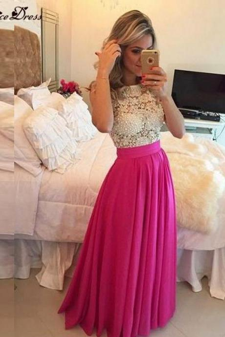 Louisvuigon Chiffon Long Dress Party Evening Elegant Custom Made Fashionable Hot Pink New Prom Dresses Cheap Made in China 2016