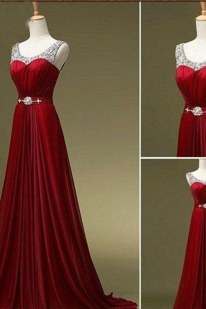 Prom Dress,Red Prom Dress,Discount Prom Dress,Custom Prom Dress,Beaded Prom Dress,Chiffon Prom Dress,2016 Prom Dress,Handmade Prom Dress,Long Prom Dress,Dress For Prom NO.1
