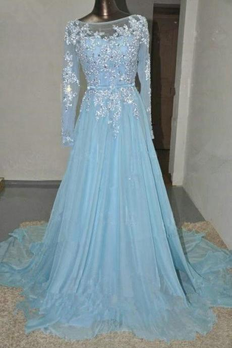 Charming Prom Dress,Long Sleeve Prom Dress,A-Line Prom Dress,Appliques Prom Dress,Chiffon Prom Dress
