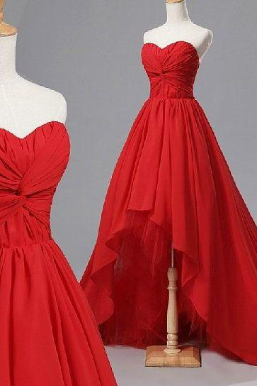 Charming Prom Dress,Fashion Prom Dress,High/Low Prom Dress,Chiffon Prom Dress With Pleat