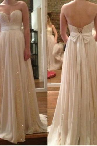 2016 Prom Dress,Long A-Line Prom Dress,Sweetheart Prom Dress,Sleeveless Prom Dress,Backless Prom Dress,White Chiffon Prom Dress