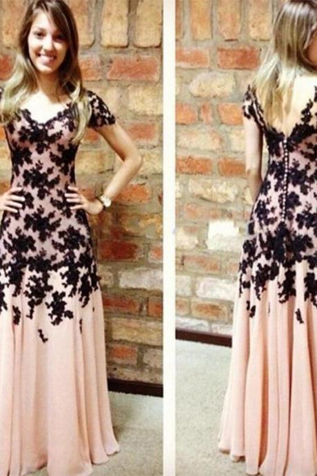 2016 Prom Dress,Long A-Line Prom Dress,Sweetheart Prom Dress,Sleeveless Prom Dress,Backless Prom Dress,White Chiffon Prom DressLong Prom Dress,V-Neck Prom Dress,Short Sleeves Prom Dress,Lace Prom Dress,Chiffon Prom Dress With Appliques
