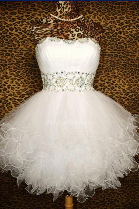 Shinning Prom Dress,Cute Homecoming Dress,Sweetheart Homecoming Dress,Open Back Homecoming Dress,Tulle Homecoming DressHomecoming Dress,White Homecoming Dress,Organza Homecoming Dress,Homecoming Dress With Rhinestone,Cute Dress