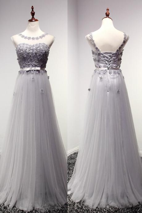High Quality Prom Dress,A-Line Prom Dress,Tulle Prom Dress,O-Neck Prom Dress, Appliques Prom Dress