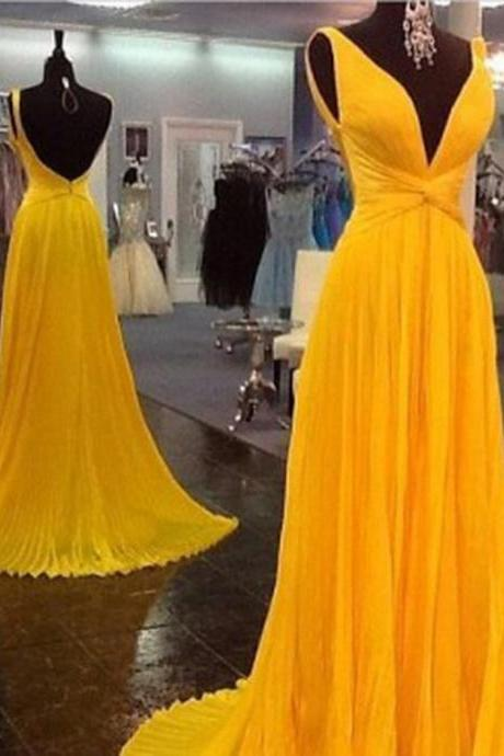 High Quality Prom Dress,Chiffon Prom Dress,Pleat Prom Dress,Backless Prom Dress,V-Neck Prom Dress