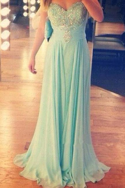 Charming Prom Dress,Chiffon Prom Dress,A-Line Prom Dress,Sweetheart Prom Dress,Beading Prom Dress