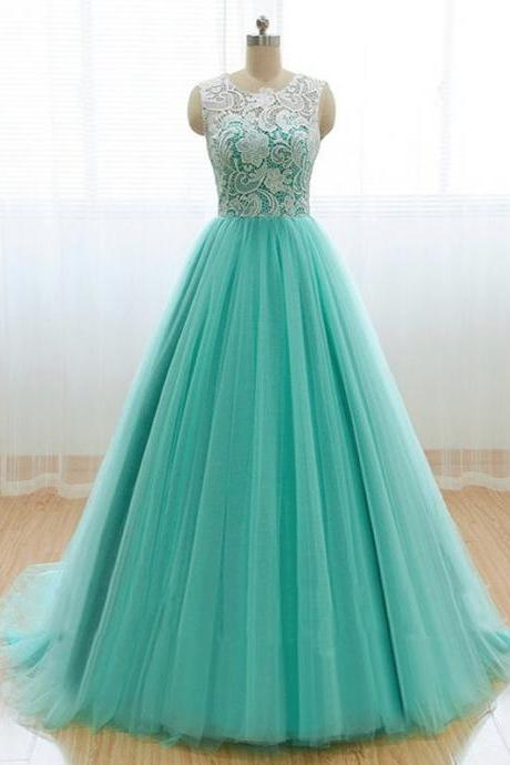 Charming Prom Dress,Tulle Prom Dress,O-Neck Prom Dress,Lace Prom Dress,A-Line Prom Dress
