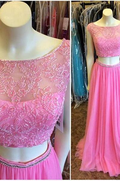 Charming Prom Dress,Two Pieces Prom Dress,A-Line Prom Dress,Beading Prom Dress,O-Neck Prom Dress
