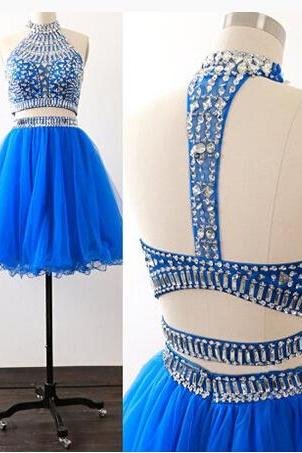 Halter Beading Sexy Short Charming A-Line Short Prom Dresses,Homecoming Dress, Homecoming Dresses On Sale