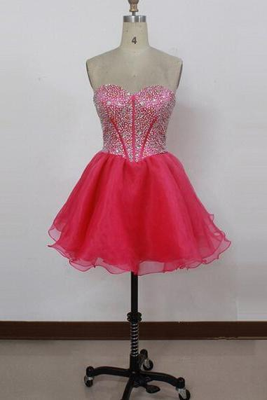 Sweetheart Beading Sexy Short Charming A-Line Short Prom Dresses,Homecoming Dress, Homecoming Dresses On Sale