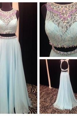 Two Pieces Beading Real Made Prom Dresses,Long Evening Dresses,Prom Dresses On Sale