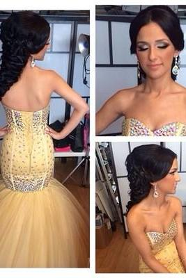 Mermaid Beading Real Made Prom Dresses,Long Evening Dresses,Prom Dresses On Sale