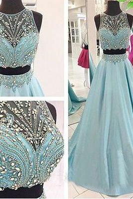 Two Pieces New Design Beading A-Line Prom Dresses,Long Evening Dresses,Prom Dresses On Sale