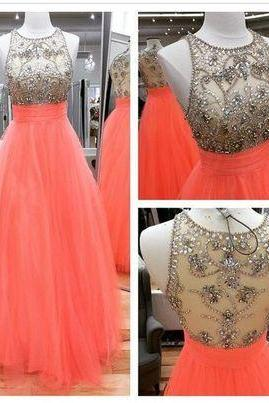 A-Line Beading Prom Dresses,Long Evening Dresses,Prom Dresses On Sale